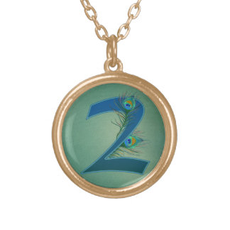 Number 2 or 2nd numeric design gold plated necklace