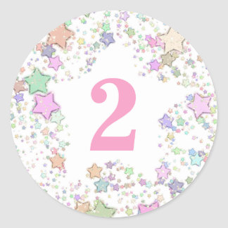 Number 2 TWO Girls 2nd Birthday Pastel Stars Classic Round Sticker