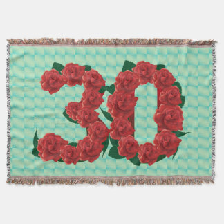 Number 30 30th birthday red roses floral blanket