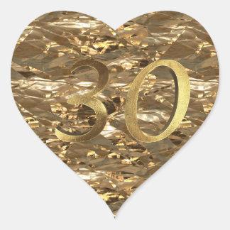 Number 30 30th Wedding Anniversary Elegant Gold Heart Sticker