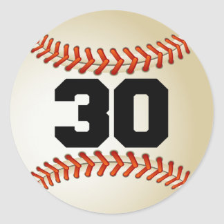 Number 30 Baseball Classic Round Sticker