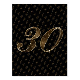 Number 30 Black Gold 30th Birthday Anniversary Postcard