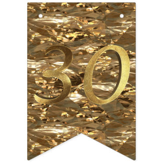 Number 30 Wedding 30th Birthday Anniversary Gold Bunting Flags