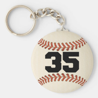 Number 35 Baseball Keychain