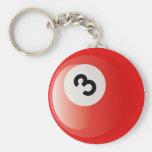 NUMBER 3 BILLIARDS BALL KEYCHAINS