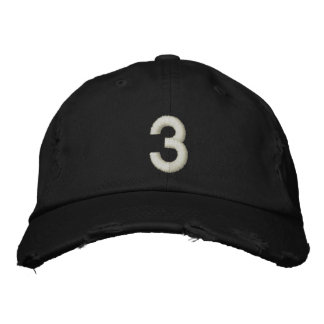 Number 3 embroidered hat