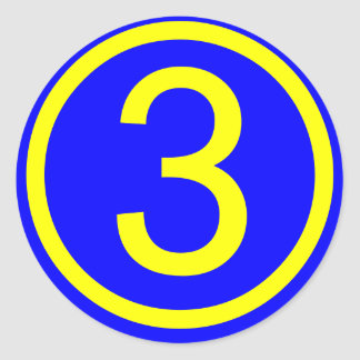 number 3 in a circle, blue background round sticker