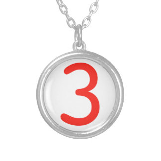 Number 3 silver plated necklace