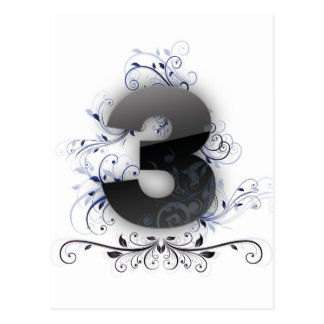 Number 3 with floral insertions postcard