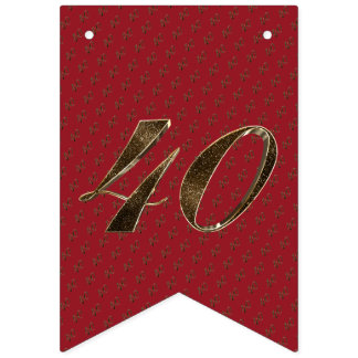 Number 40 40th Anniversary Ruby Gold Typography Bunting Flags