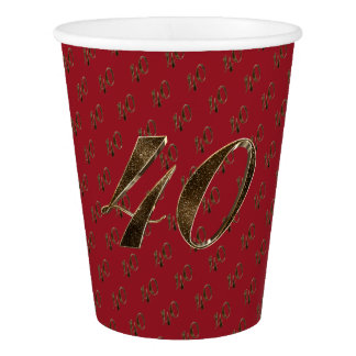Number 40 40th Anniversary Ruby Gold Typography Paper Cup