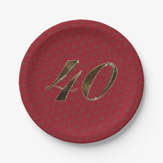 Number 40 40th Anniversary Ruby Gold Typography Paper Plate