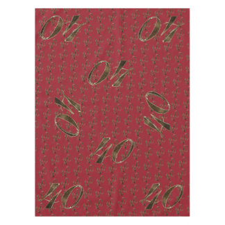 Number 40 40th Anniversary Ruby Gold Typography Tablecloth