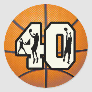 Number 40 Basketball Round Sticker