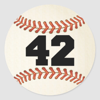 Number 42 Baseball Round Sticker