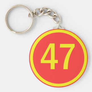 number, 47, in a circle keychain