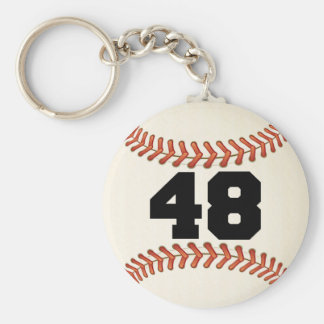 Number 48 Baseball Basic Round Button Keychain