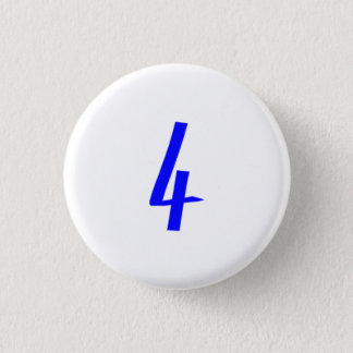Number 4 four blue color 1 inch round button