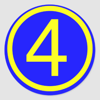 number 4 in a circle, blue background classic round sticker