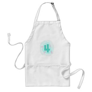 Number 4 in Aqua and Pink Swirls Aprons Standard Apron