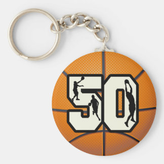 Number 50 Basketball Basic Round Button Keychain