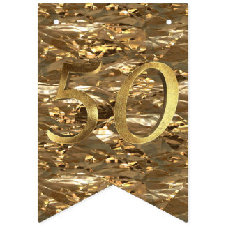 Number 50 Wedding 50th Birthday Anniversary Gold Bunting Flags