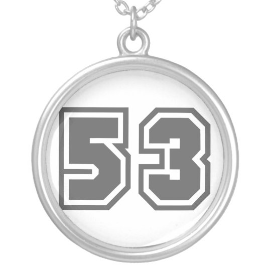 Number 53 silver plated necklace