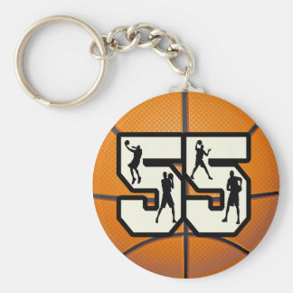 Number 55 Basketball Keychain