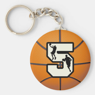 Number 5 Basketball and Player Basic Round Button Keychain