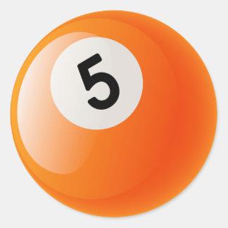NUMBER 5 BILLIARDS BALL CLASSIC ROUND STICKER