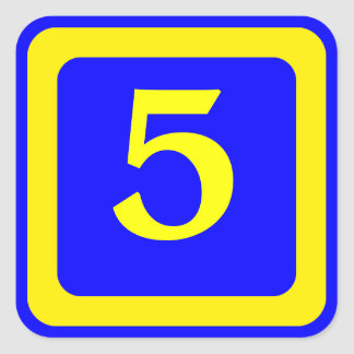 number 5, blue background, yellow frame square sticker