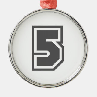 Number 5 metal ornament