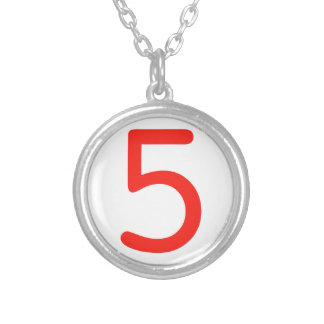 Number 5 silver plated necklace