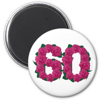 Number 60 60th birthday roses pink 2 inch round magnet