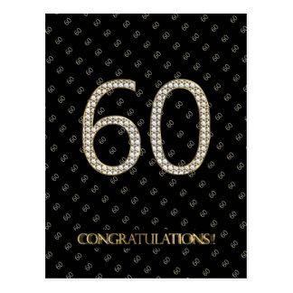 Number 60 Black Gold 60th Birthday Diamond Wedding Postcard