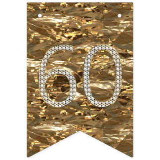 Number 60 Diamond Wedding Anniversary Gold Foil Bunting Flags