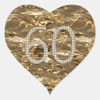 Number 60 Diamond Wedding Heart Shiny Gold Heart Sticker