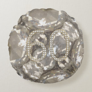 Number 60 Diamonds Look 60th Anniversary Round Pillow