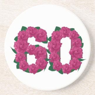 Number 60 floral coaster