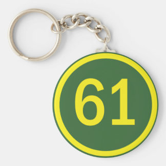 number, 61, in a circle keychain