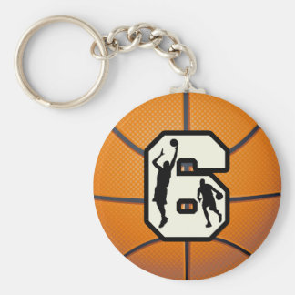 Number 6 Basketball and Players Keychain