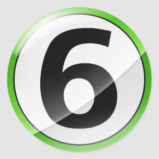 Number 6 green sticker