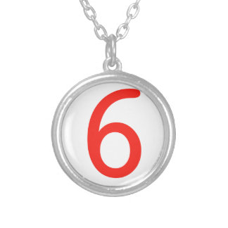 Number 6 silver plated necklace