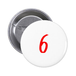 Number 6 six red color 2 inch round button