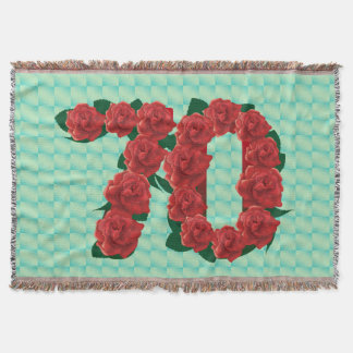 Number 70 70th birthday red roses floral blanket