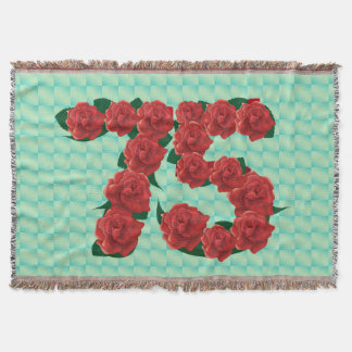 Number 75 75th birthday red roses floral blanket throw