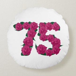 "Number 75 75th birthday Round Throw Pillow (16"")"