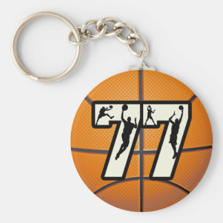 Number 77 Basketball Keychain