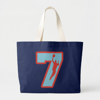 Number 7 and Basketball Player Large Tote Bag