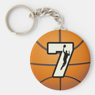 Number 7 Basketball and Player Basic Round Button Keychain